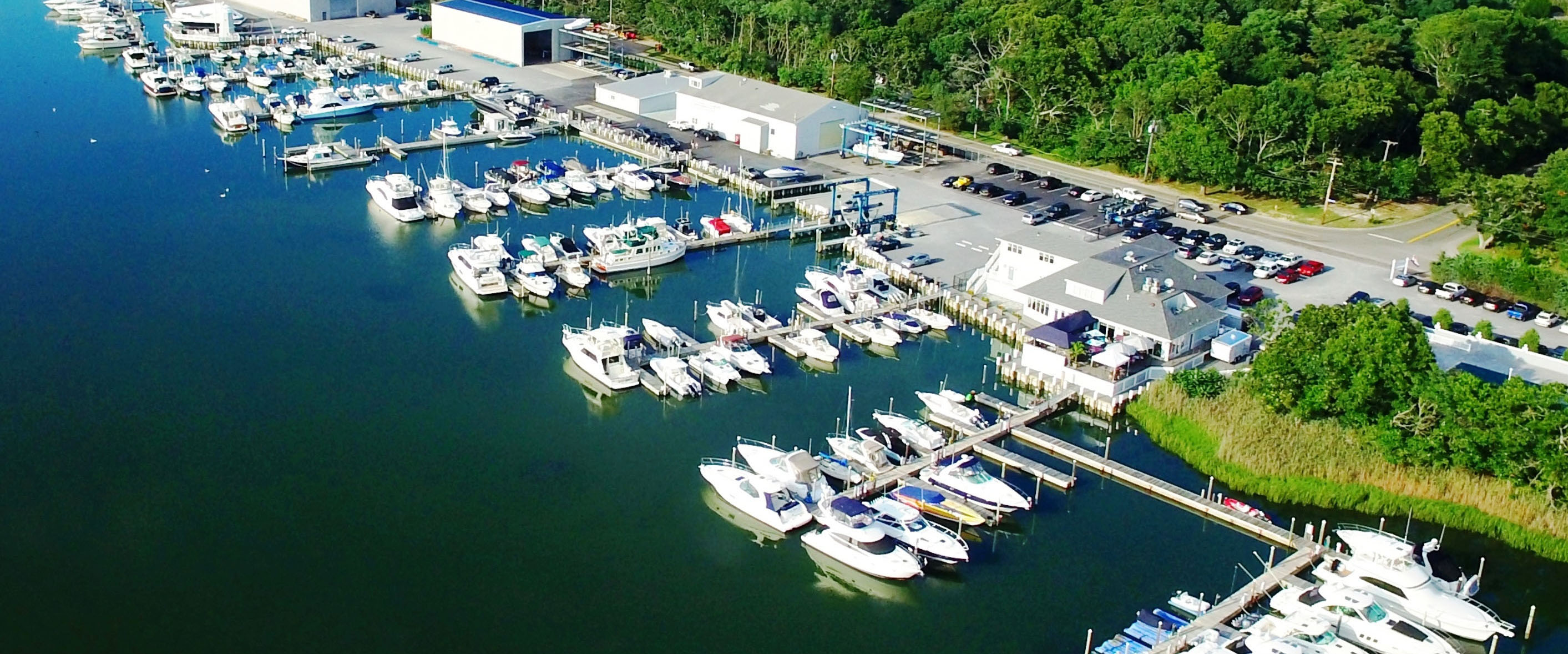 Overhead shot of lighthouse marina