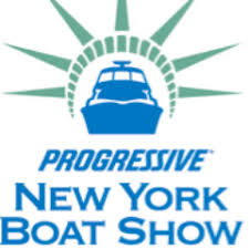 Progressive New York Boat Show Logo with Boat inside crown of lady liberty