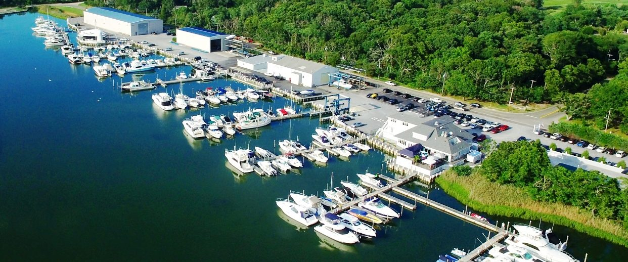 Ariel View of Lighthouse Marina Docks and Buildings